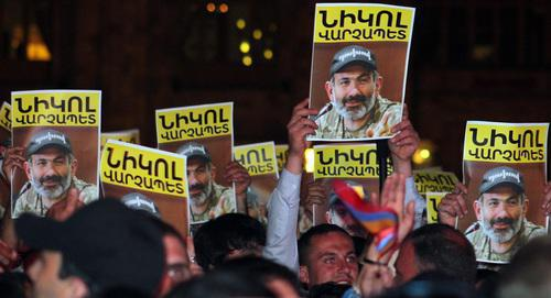 "Leaflets with Nikol Pashinyan's name and photos of Pashinyan. Yerevan, May 2, 2018. Photo by Tigran Petrosyan for the ""Caucasian Knot"""