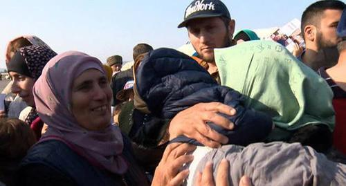 Women and children returned from Syria to Dagestan. Grozny, October 21, 2017. Photo: screenshot of the video by the user Russia 24 https://www.youtube.com/watch?v=Au-M3DuD-9I