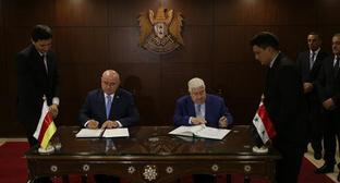 The Ministers of Foreign Affairs for South Ossetia and Syria Dmitry Medoyev and Walid Muallem, respectively. Photo by the press service of the Ministry of Foreign Affairs for South Ossetia http://www.mfa-rso.su/