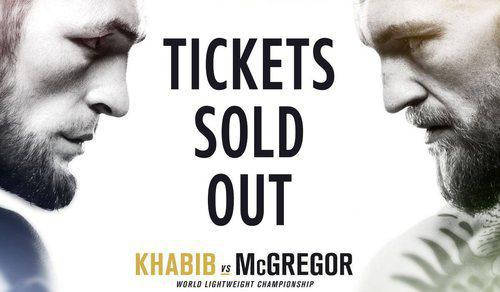 Announcement that tickets are sold out for Nurmagomedov vs. McGregor fight, https://twitter.com/btsportufc/status/1030508592959549440