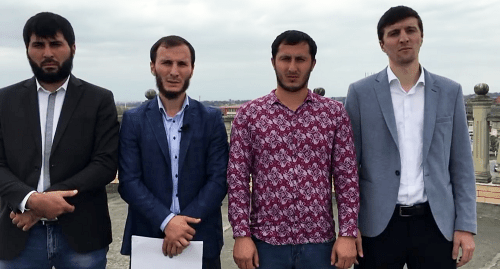 "Khasan Katsiev, Bagaudin Khautiev, Ismail Bulguchev and Ismail Nalgiev (from left to right). Screenshot of the activists' video appeal to authorities on Chechnya's territorial claims to Ingushetia, September 4, 2018 https://www.youtube.com/watch?v=CsqZFGulDF8&t=48s"" class=""main_article_image"