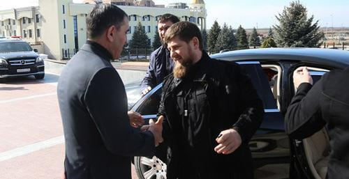Yunus-Bek Evkurov and Ramzan Kadyrov (right) during meeting in Magas, February 21, 2016. Press service of the government of Ingushetia.