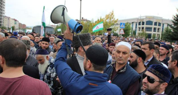A protest action in Magas on October 5, 2018. Photo by Magomed Mutsolgov http://www.kavkaz-uzel.eu/blogs/342/posts/34807