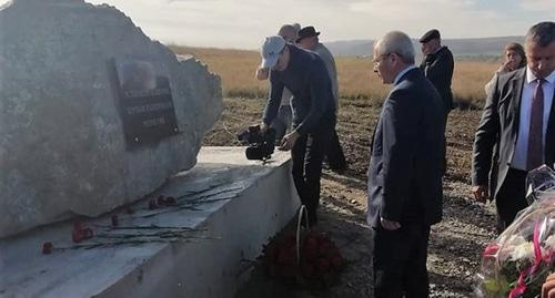 The first boulder was placed into foundation of the monument to repressed people in Karachay-Cherkessia. Photo from the official website of the republic's head and government http://kchr.ru/news/detailed/48154/