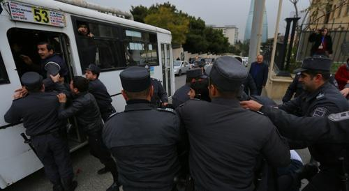 "Detention of activists of the Popular Front Party of Azerbaijan, November 17, 2018. Photo by Aziz Karimov for the ""Caucasian Knot"""