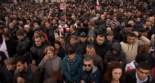Opposition rally in Tbilisi, December 2, 2018. Photo: press service of the United National Movement, https://www.facebook.com/nacionalurimodzraoba/videos/766199990382566/