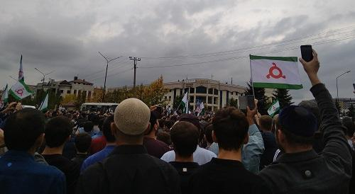 Ingush activists take part in protest rally against agreement on Chechen-Ingush border. Photo: Umar Yovloi for the Caucasian Knot