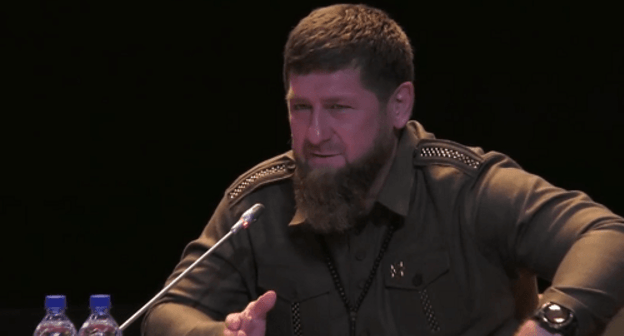 Ramzan Kadyrov at business session 'Invest in Caucasus'. Screenshot from TASS broadcasting reproduced by 'Dozhd' TV Channel, https://tvrain.ru/teleshow/videooftheday/kadyrov_vs_mutko-476673/