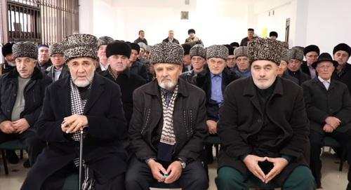 The Ingush Council of Teips (family clans). Screenshot of the video of the  Ingush Council of Teips on YouTube https://www.youtube.com/watch?v=P46m0ccmHrA&feature=youtu.be