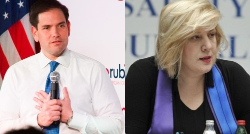 "Marco Rubio and Dunya Miyatovic, collage by the ""Caucasian Knot"""