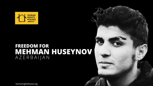 A poster of the Human Rights House in support of Mekhman Guseinov. Photo https://humanrightshouse.org/letters-of-concern/mehman-huseynov-letter-to-president-of-azerbaijan/