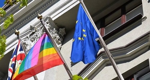 UK and EU flags along with rainbow flag. Photo: press service of the Embassy of Great Britain in Belarus. Facebook / UK in Belarus - British Embassy Minsk