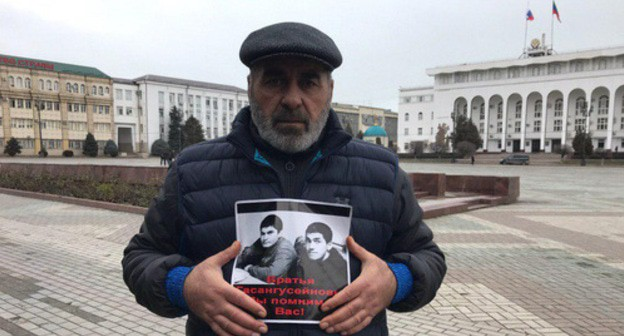 Murtazali Gasanguseinov holds solo picket, Makhachkala, February 1, 2019. Photo by Patimat Makhmudova for the Caucasian Knot