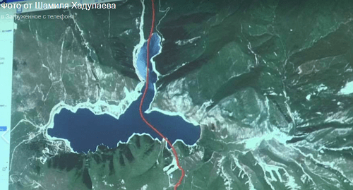 A map fragment with the border between  Dagestan and Chechnya across Lake Kezenoi-Am. Screenshot of a picture published on Shamil Khadulaev's page