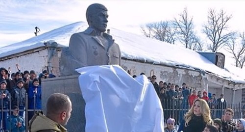 Monument to Mikhail Avagyan. Screenshot from Youtube video, https://www.youtube.com/watch?v=x27kIBLpZyo