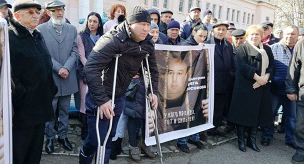 "Soslan Khosonov, the brother of Oleg Khosonov, came to a rally in his support. Beslan, February 16, 2019. Photo by Emma Marzoeva for the ""Caucasian Knot"""