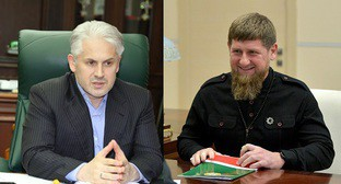 "Muslim Khuchiev and Ramzan Kadyrov. Collage by the ""Caucasian Knot"". Photo"" press service of the Ministry for Economic and Territorial Development and Trade of the Chechen Republic&#59; press service of the Kremlin Sources: http://economy-chr.ru/?p=1450 http://kremlin.ru/catalog/persons/146/events/57797"