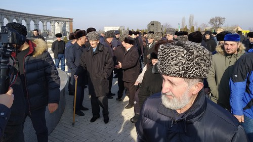 "People near the Memorial for the memory  of the victims of political repressions in Nazran, February 23, 2019. Photo by Umar Yovloy for the ""Caucasian Knot"""