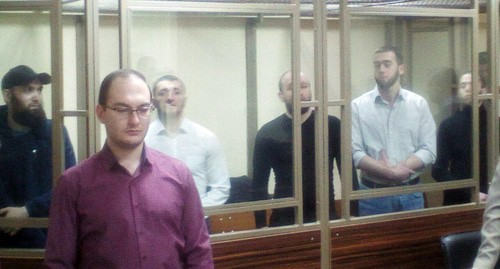 Defendants and their advocates in the courtroom. Photo by Valery Lyugayev for the Caucasian Knot