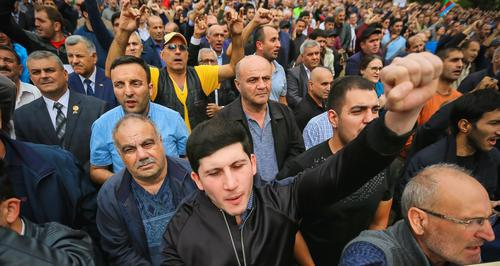 "Protesters in Azerbaijan. Photo by Aziz Karimov for the ""Caucasian Knot"""