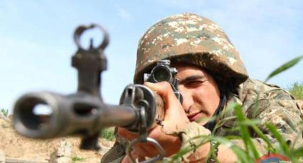 A soldier of the army of Nagorno-Karabakh. Photo from the website of the Ministry of Defence for Nagorno-Karabakh http://www.nkrmil.am/news/view/2308