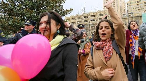 Participants of feminist rally in Baku. Photo by Aziz Karimov for the Caucasian Knot