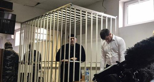 "Oyub Titiev in a cell in the court room. Photo by the ""Caucasian Knot"" correspondent"