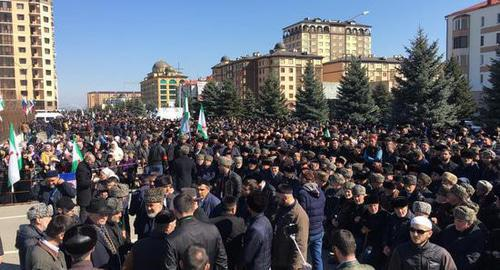 Thousands gathered for a protest in Magas, March 26, 2019. Photo by Magomed Mutsolgov for the Caucasian Knot