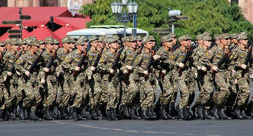 "A military parade on the 25th anniversary of Armenia's independence. Photo by Tigran Petrosyan for the ""Caucasian Knot"""