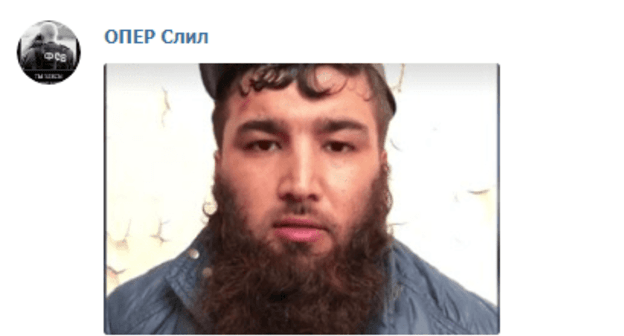 One of five people detained in Dagestan and Chechnya on charges of preparing terror attacks. Screenshot from post by Telegram Channel 'Oper slil' dated April 23, 2019. https://web.telegram.org/#/im?p=@operdrain