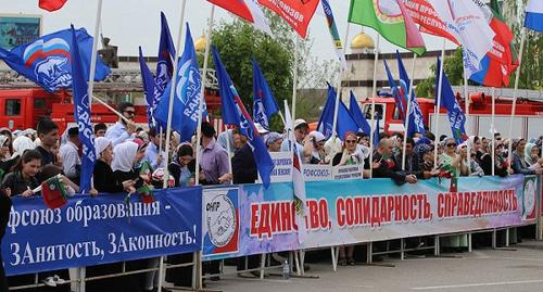 A demonstration on May 1, 2019 in Grozny. Photo by the press service of the Government of the Chechen Republic http://chechnya.gov.ru/page.php?r=126&id=22367