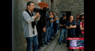 Striking miners in the Georgian city of Chiatura. May 16, 2019. Screenshot of the video http://www.rustavi2.ge/en/news/133542