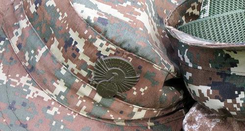 "A cap badge of the Karabakh army soldier. Photo by Alvard Grigoryan for the ""Caucasian Knot"""