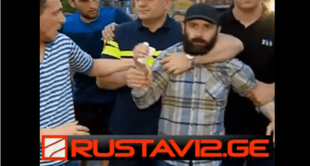 Screenshot of the video of the detention of a gay parade opponent in Tbilisi. June 14, 2019. Screenshot of the video by Rustavi 2 http://www.rustavi2.ge/en/news/135982