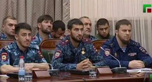 At a meeting with the participation of Ramzan Kadyrov. Photo: screenshot of the video by the Grozny TV channel https://www.youtube.com/watch?v=aCoKuLbaULM