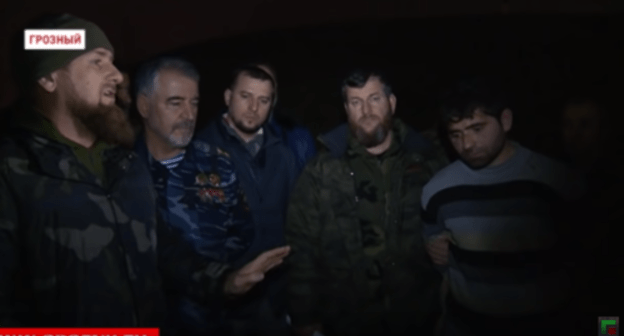 "Screenshot of the video by the Grozny TV channel ""In Chechnya, a member of an illegal armed formation hiding during a special operation in the Kurchaloi district was captured"" https://youtu.be/n1ZXQ-2qdRA"