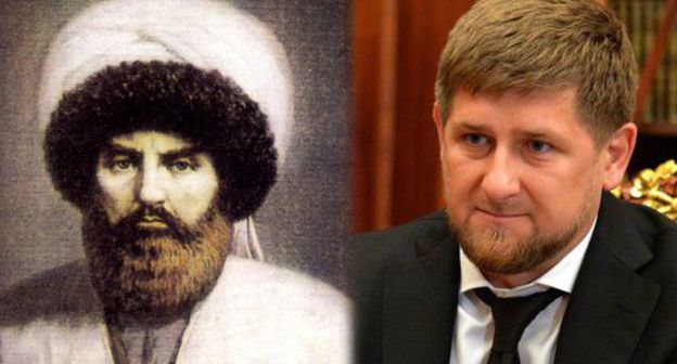 Imam Shamil and Ramzan Kadyrov. Photo: Public heritage, Kremlin press service: kremlin.ru. Collage by the Caucasian Knot