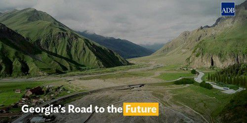 Screenshot from video posted by the Asian Development Bank on funding of the Kobi-Gudauri high-speed highway, https://www.adb.org/news/videos/georgias-road-future