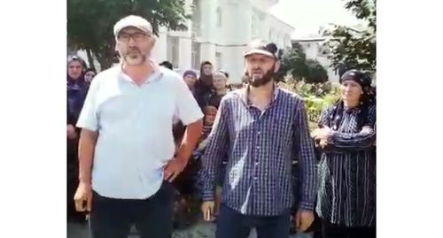 Protest action in Khasavyurt. Screenshot from 'Godekan' Telegram Channel post, August 19, 2019.