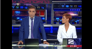 Mikheil Sesiashvili announces that he quits 'Rustavi-2'. Screenshot from video posted at: http://www.rustavi2.ge/ka/news/141939