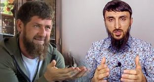 Ramzan Kadyrov and Tumso Abdurakhmanov. Photo: screenshot from YouTube video, https://www.youtube.com/watch?v=mGM-QIlB8Yg, https://www.youtube.com/watch?v=Mw3G4DO-JXI. Collage by the Caucasian Knot