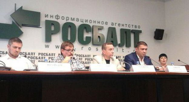 "Participants of the press conference at the press center of the Rosbalt news agency in moscow. Photo by Rustam Djalilov for the ""Caucasian Knot"""