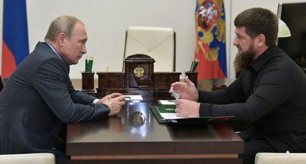 Vladimir Putin at his meeting with Ramzan Kadyrov on August 31, 2019. Photo by the press service of the Russian President http://kremlin.ru/events/president/news/61415
