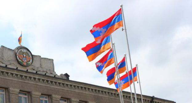 "The flag of the Nagorno-Karabakh Republic in Stepanakert. Photo by Alvard Grigoryan for the ""Caucasian Knot"""