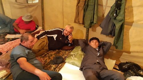 "Participants of the hunger strike in Makhachkala. Photo by Timur Isaev for the ""Caucasian Knot"""