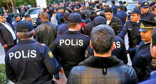 Policemen at the protest action in Azerbaijan. Photo by Aziz Karimov for the Caucasian Knot