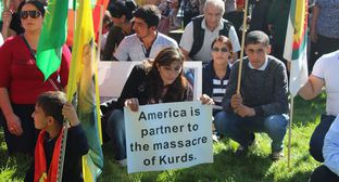 "Kurdish rally at the US Embassy in Armenia. Photo by Tigran Petrosyan for the ""Caucasian Knot"""