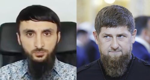 "Tumso Abdurakhmanov (on the left) and Ramzan Kadyrov. Collage by the ""Caucasian Knot"". Screenshot by the user ABU-SADDAM SHISHANI https://www.youtube.com/watch?v=LTbsDJBZa0I Sputnik/Mikhail Metzel/Pool via REUTERS"
