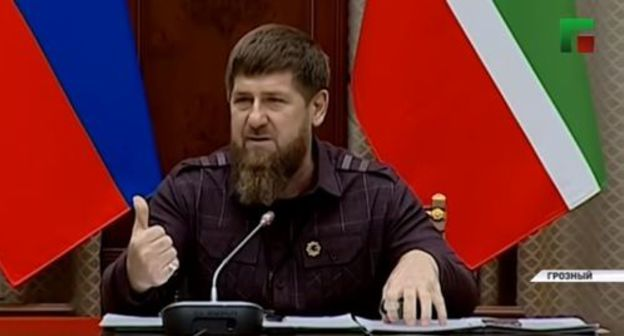 Ramzan Kadyrov at a meeting with the Chechen government, November 5, 2019. Screenshot from the video posted by ChGTRK 'Grozny' at https://www.youtube.com/watch?v=rPQzE5F2u0w