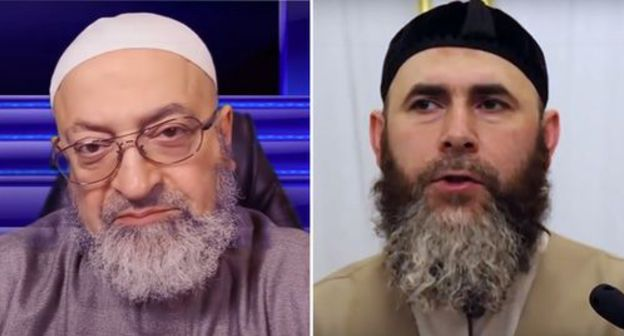 "Abdurrakhman Dimashkiya, a Lebanese theologian, and Salakh Mezhiev, Mufti of Chechnya. Photo: screenshots of the videos  https://www.youtube.com/watch?time_continue=381&v=HIxjvVM7pTM&feature=emb_logo, http://www.dumchr.ru/single-post/2019/01/26, collage by the ""Caucasian Knot"""